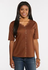 Plus Size Ribbed Lace Trim Top
