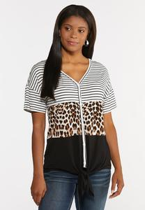 Plus Size Mixed Animal Colorblock top