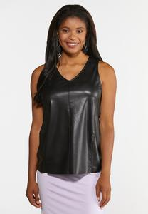 Plus Size Faux Leather Tank