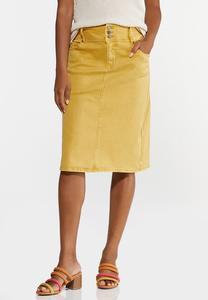 Plus Size Gold Denim Skirt