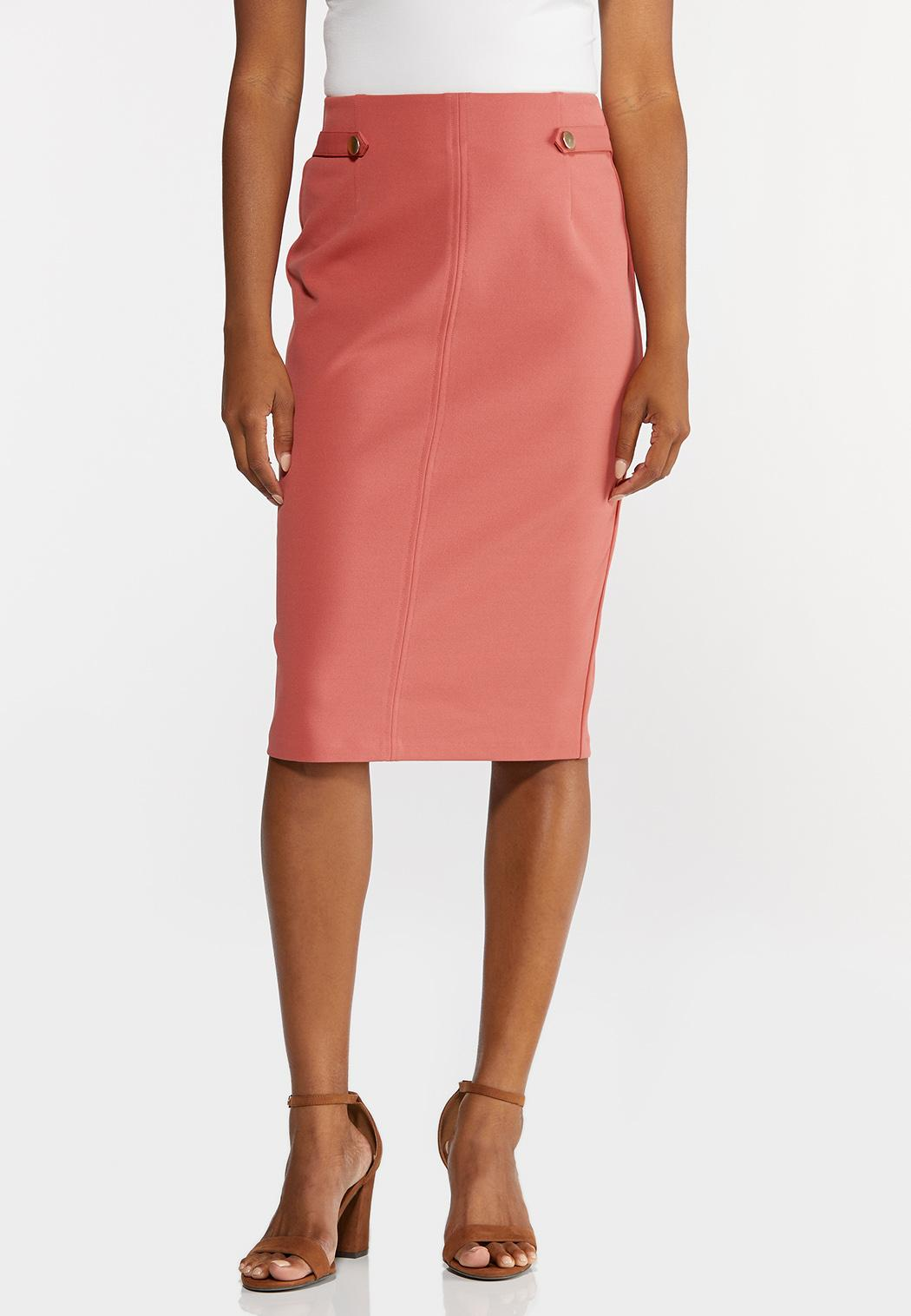 Plus Size Button Tab Pencil Skirt