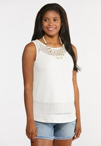 Plus Size Crochet Yoke Ribbed Tank