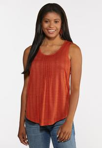 Plus Size Pointelle Pleated Tank