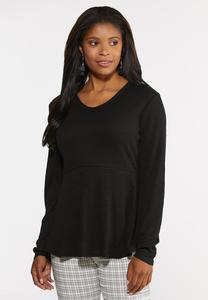 Plus Size Ribbed Babydoll Top