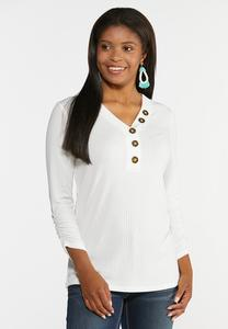 Ribbed Button V-Neck Top