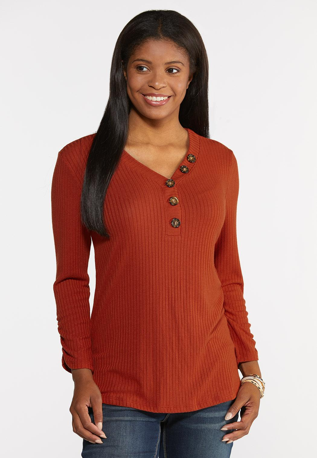 Plus Size Ribbed Button V-Neck Top