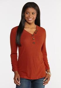 Plus Size Ribbed Button V- Neck Top