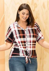 Plus Size Plaid Hooded Top