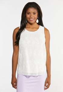Plus Size Pleated Lace Tank