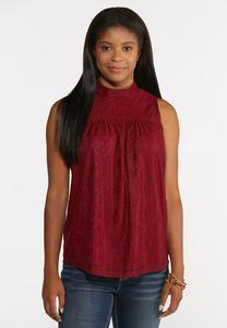 Plus Size Lacy Mock Neck Tank