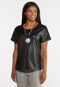 Faux Leather Lace Sleeve Top