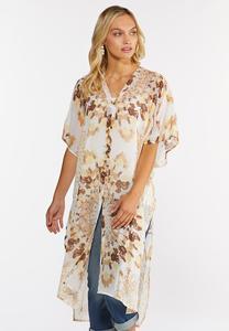 Plus Size Neutral Tie Dye Kimono