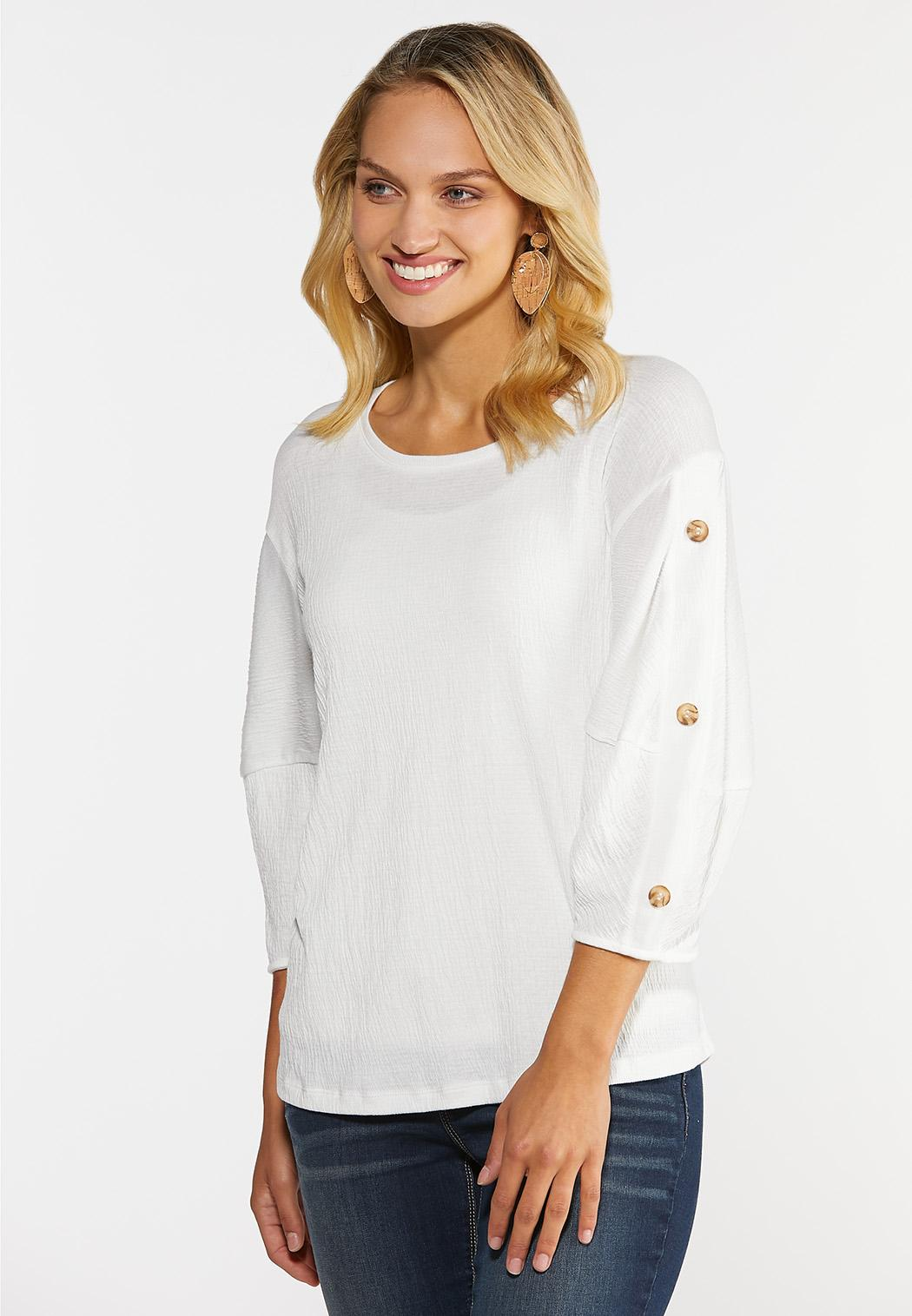 Textured Button Sleeve Top