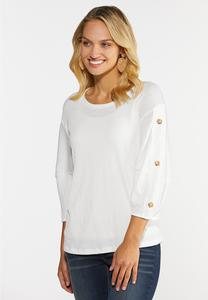 Plus Size Textured Button Sleeve Top