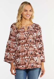 Plus Size Pleated Chevron Top