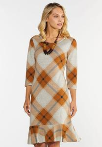 Plus Size Plaid Flounced Hem Hacci Dress