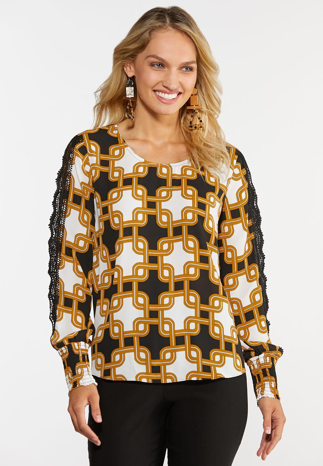 Plus Size Moroccan Lace Sleeve Top