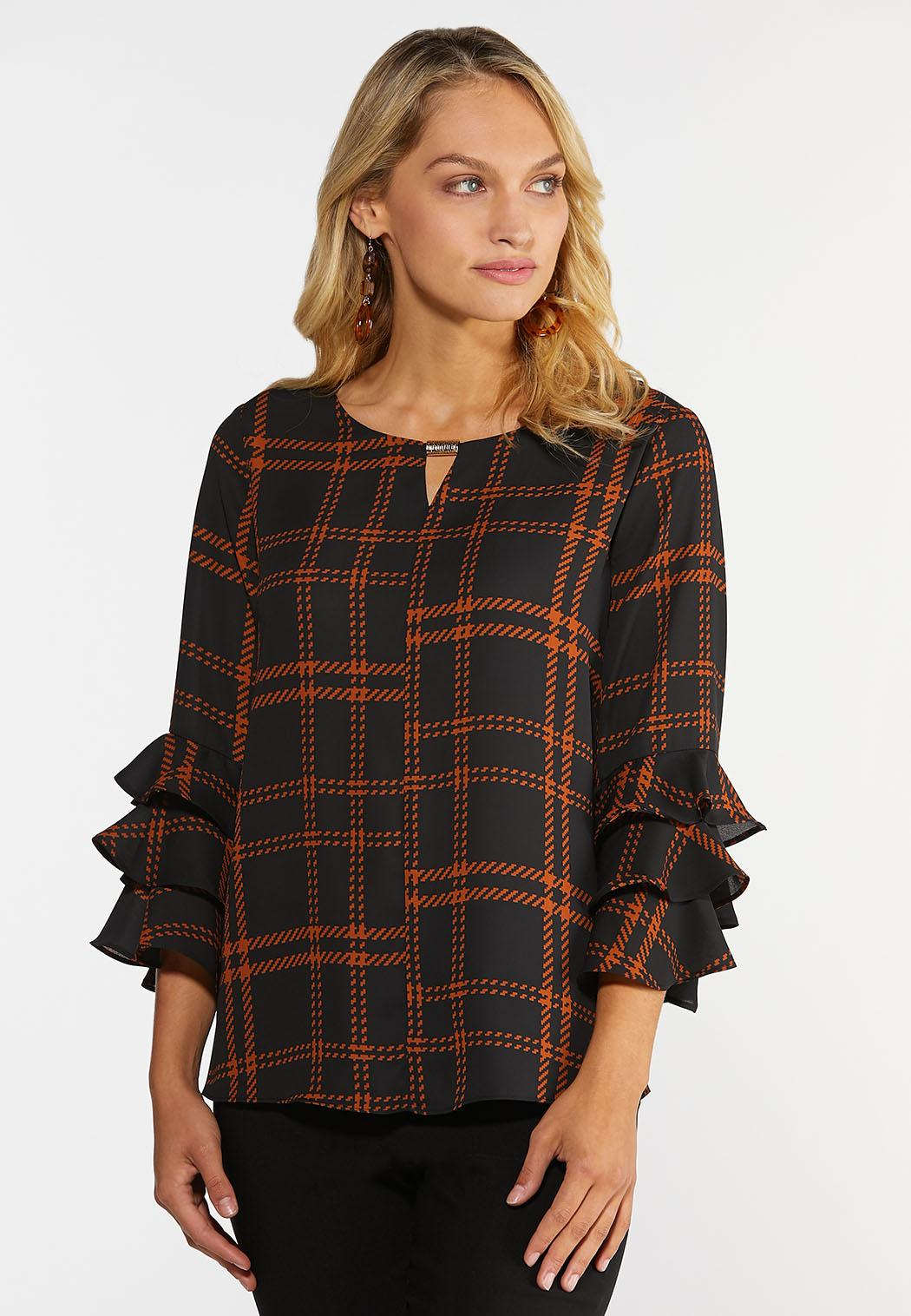 Plus Size Tiered Ruffled Sleeve Top