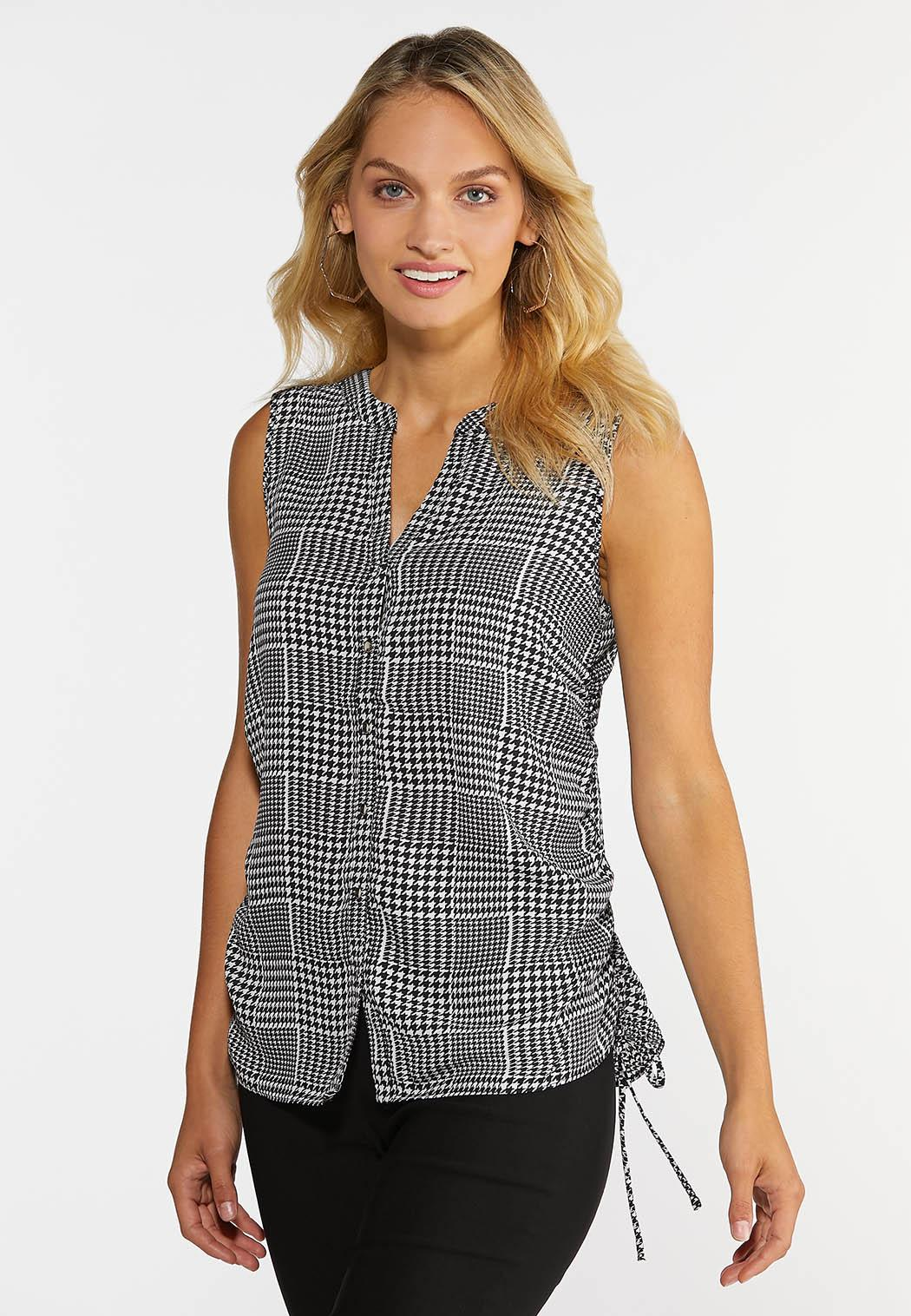 Plus Size Houndstooth Ruched Tank