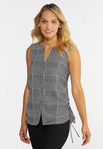 Houndstooth Ruched Tank