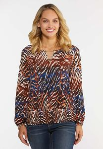 Plus Size Embellished Animal Print Top