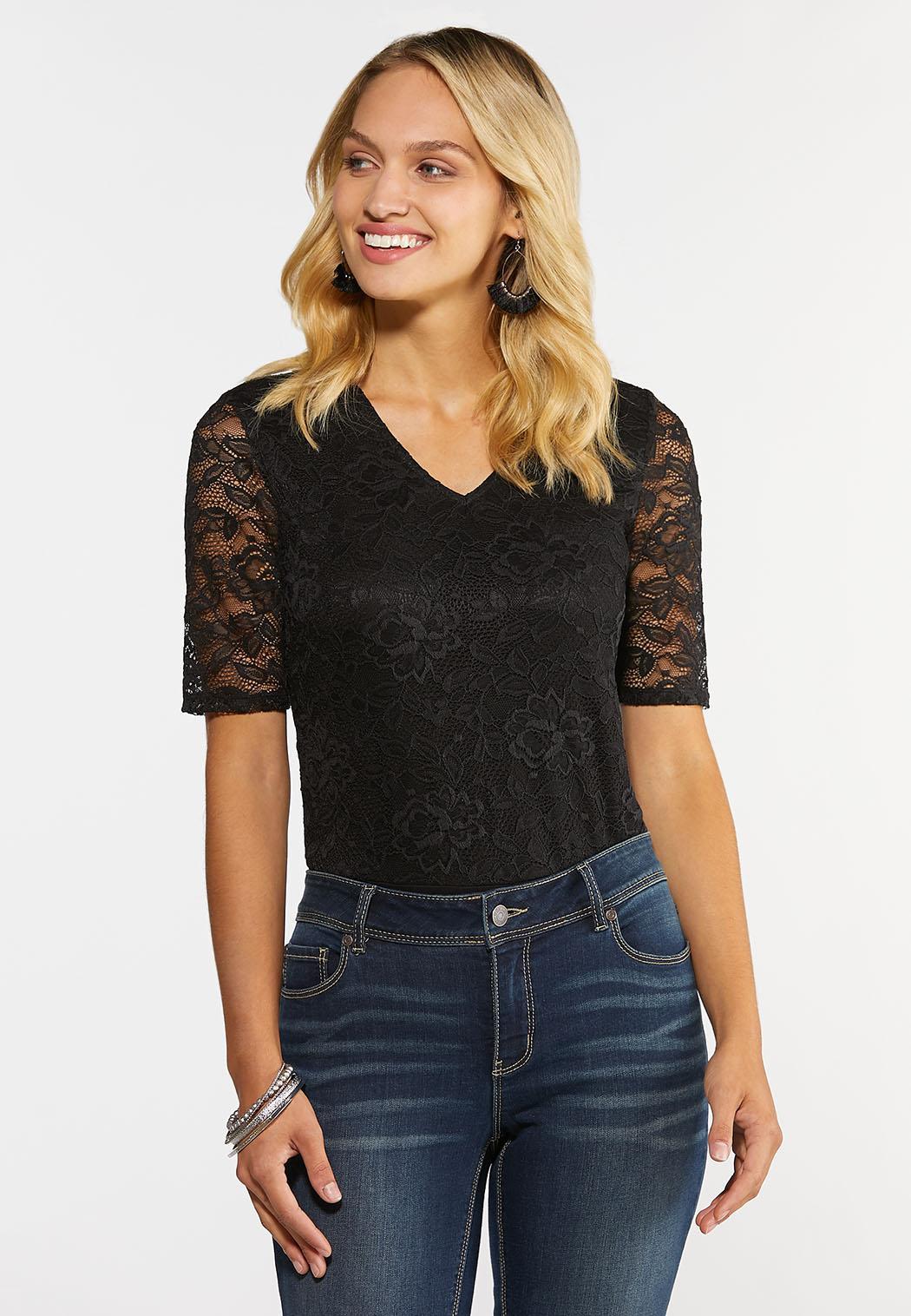 Plus Size Black Lace Bodysuit