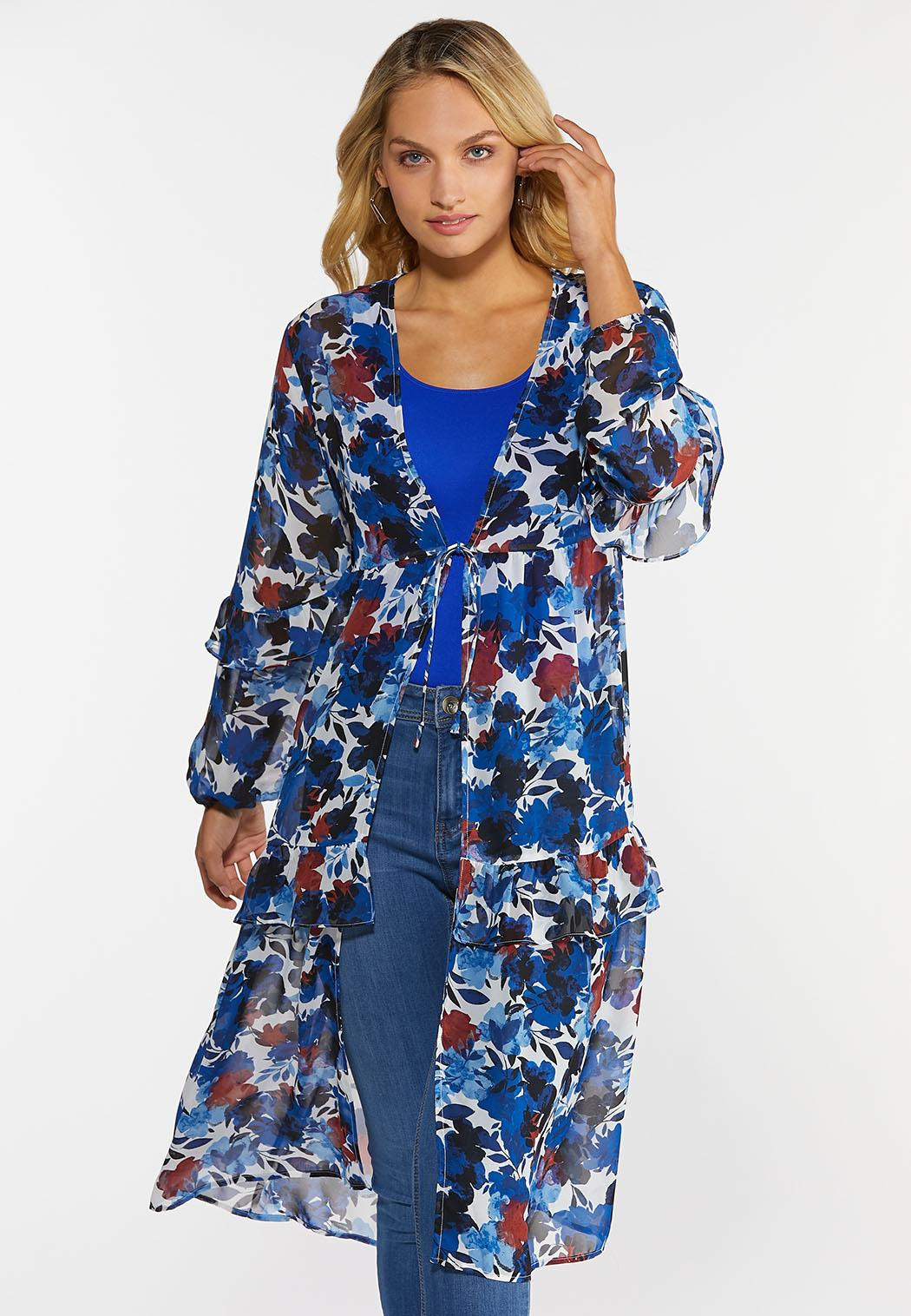Plus Size Blue Floral Kimono
