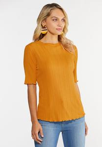 Plus Size Ribbed Ruffled Trim Top