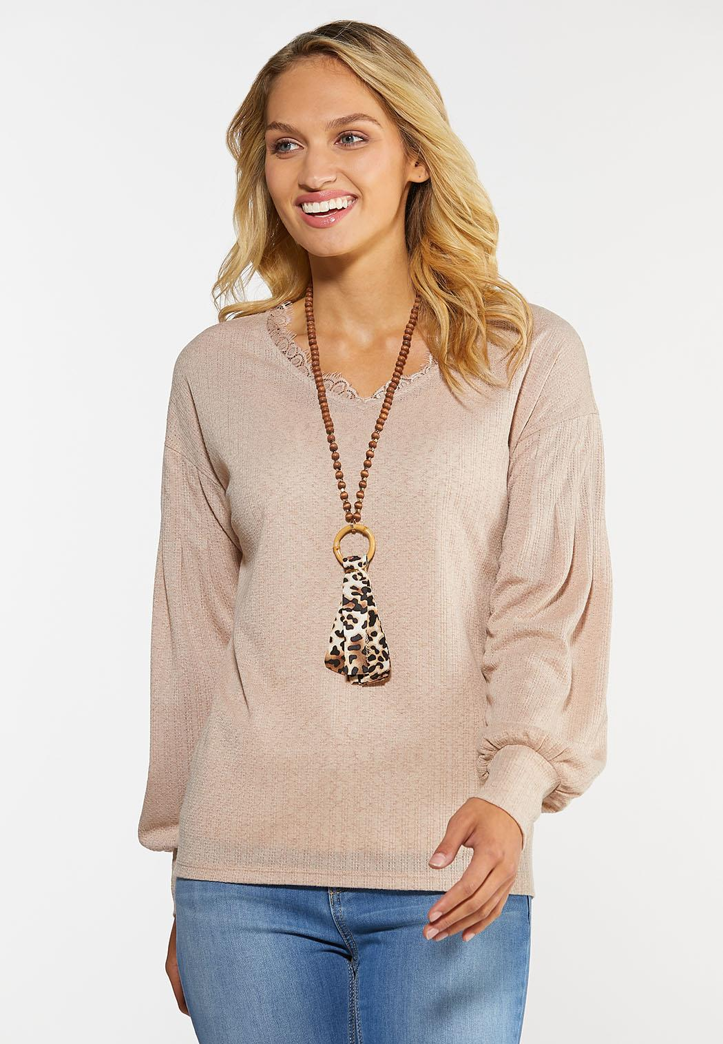 Balloon Sleeve Lace Trim Top