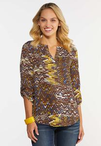 Plus Size Chevron Pullover Tunic