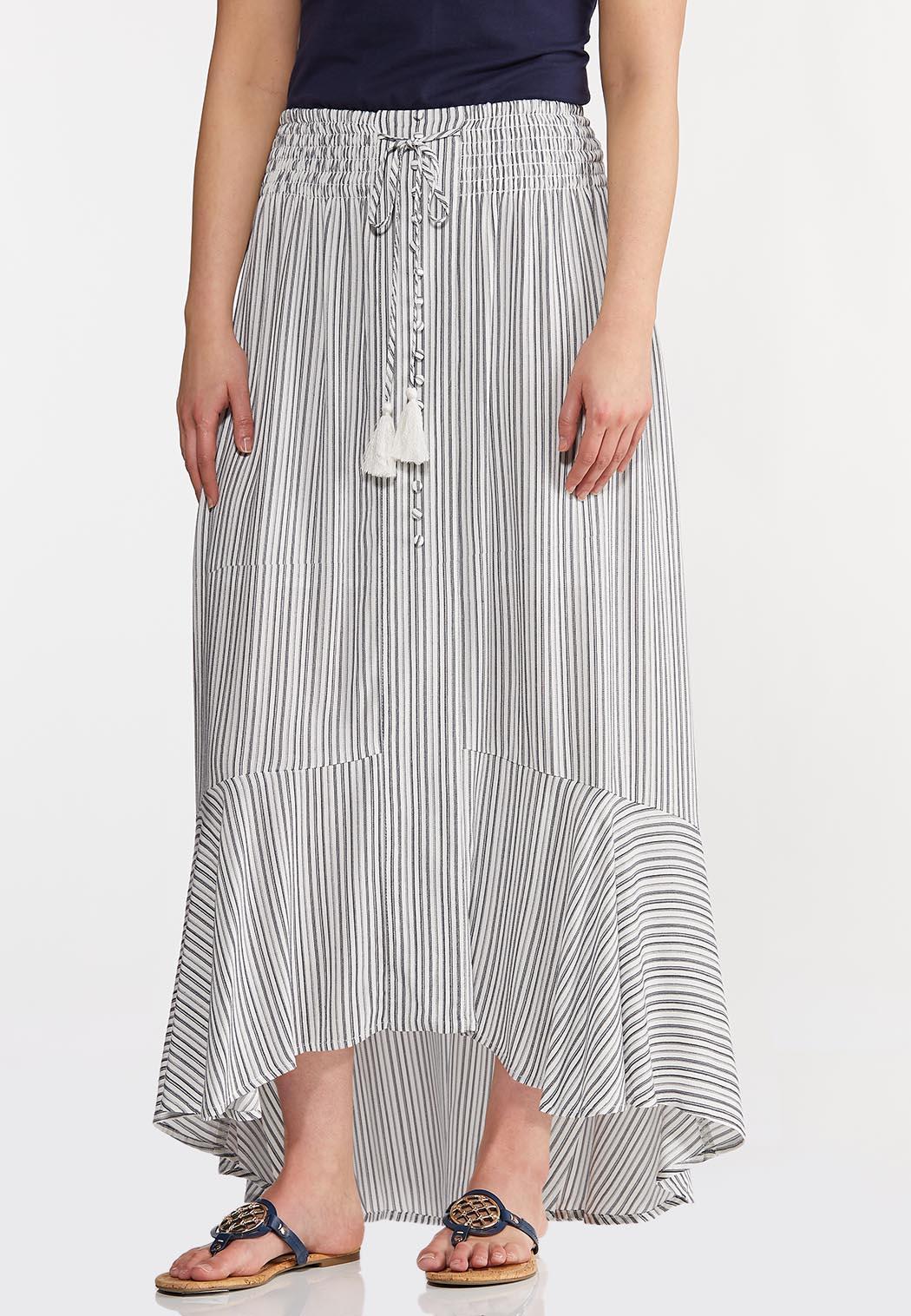 Plus Size Breezy Striped Maxi Skirt