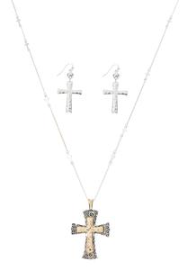 Two-Toned Cross And Earring Necklace Set