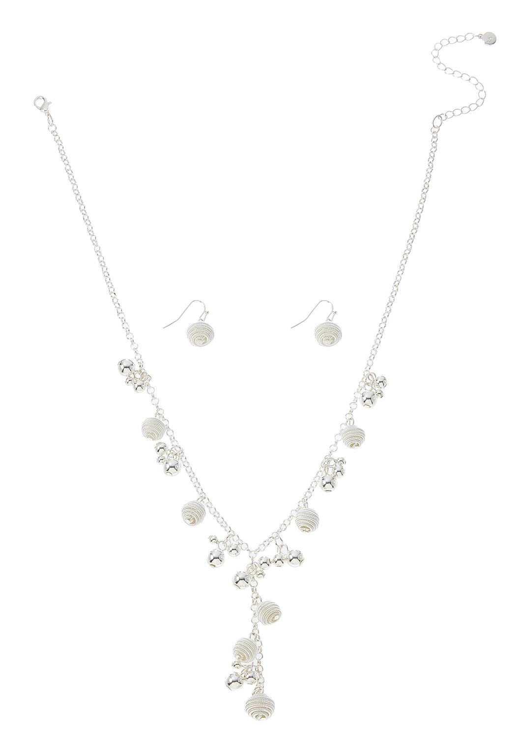 Shaky Bead Y-Necklace Earring Set