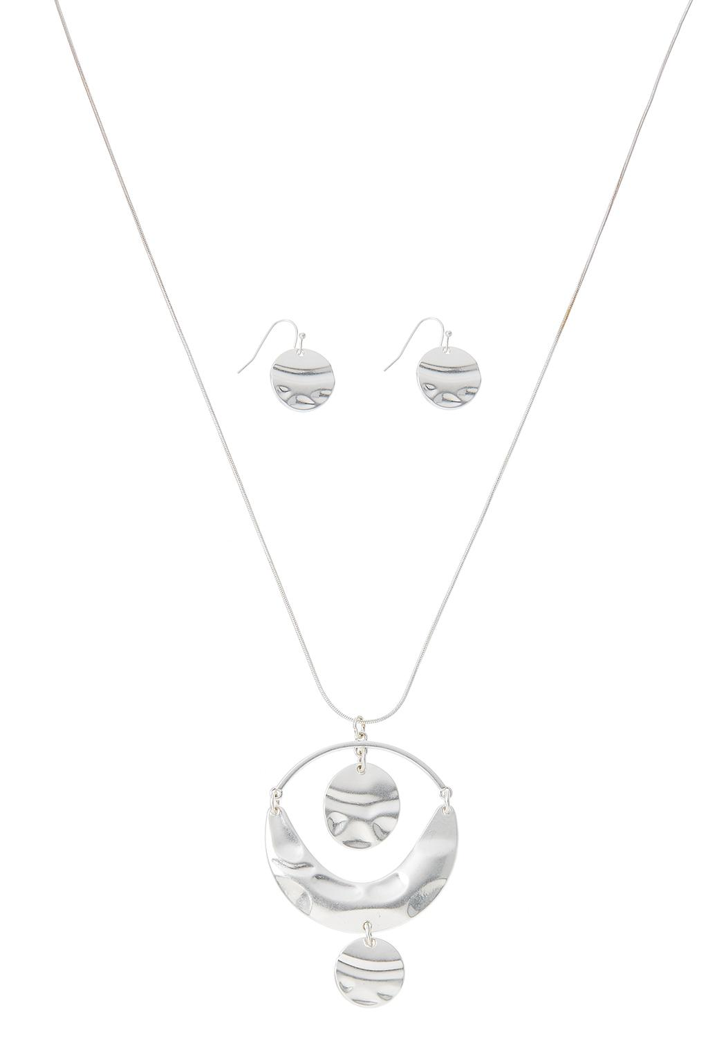 Hammered Pendant And Earrings Set
