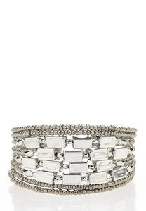 Antique Silver Bead Cuff Bracelet