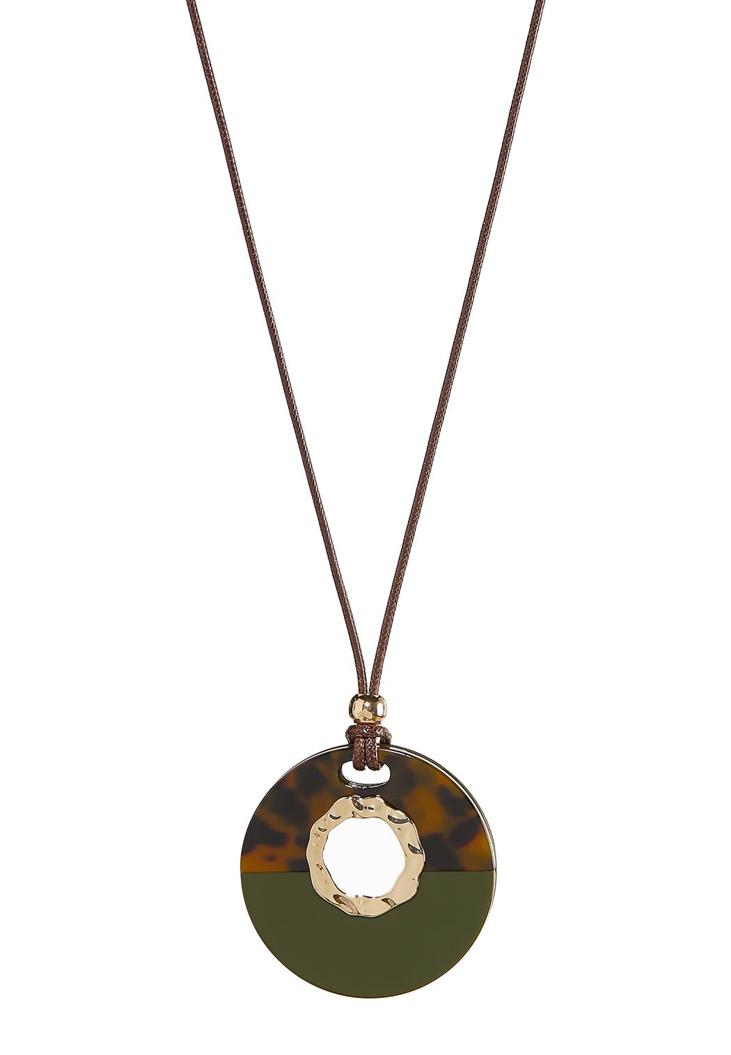 Resin Medallion Cord Necklace