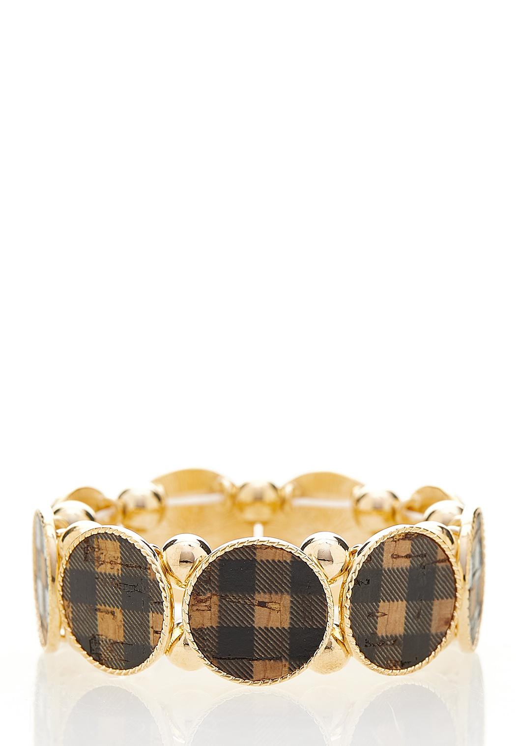 Plaid Cork Disc Stretch Bracelet