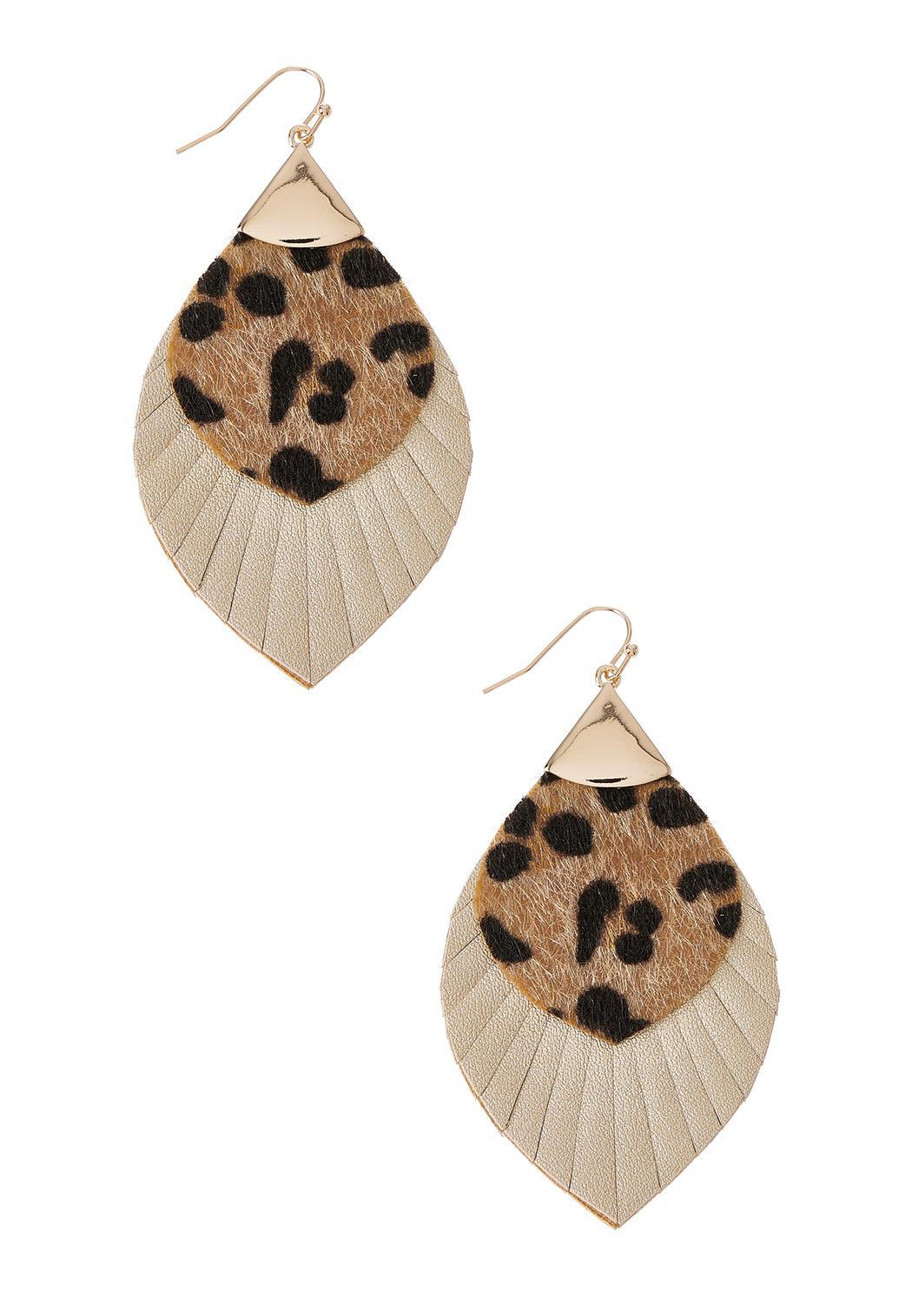 Leopard Faux Leather Earrings
