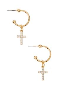 Dangle Rhinestone Cross Earrings