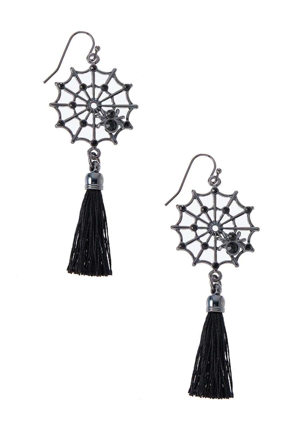 Spider Web Tassel Earrings