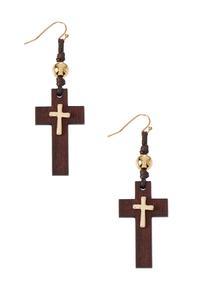 Wood Metal Cross Earrings