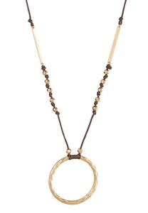 Hammered Circle Pendant Necklace