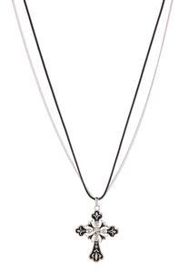 Cord Chain Cross Pendant Necklace