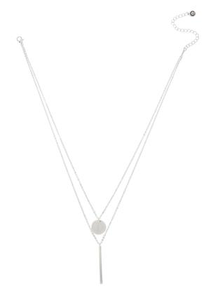 Layered Disc Bar Pendant Necklace