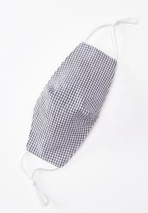 Navy Gingham Cloth Face Mask