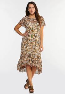 Mesh Floral High-Low Dress