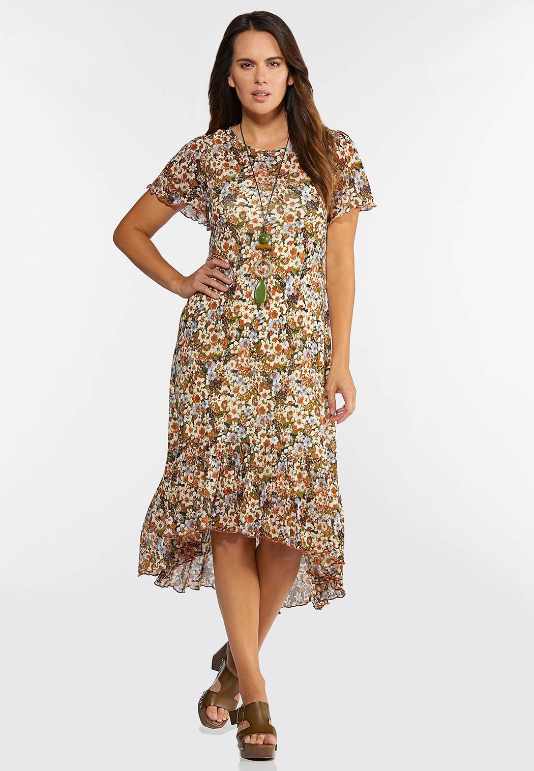 Plus Size Mesh Floral High-Low Dress