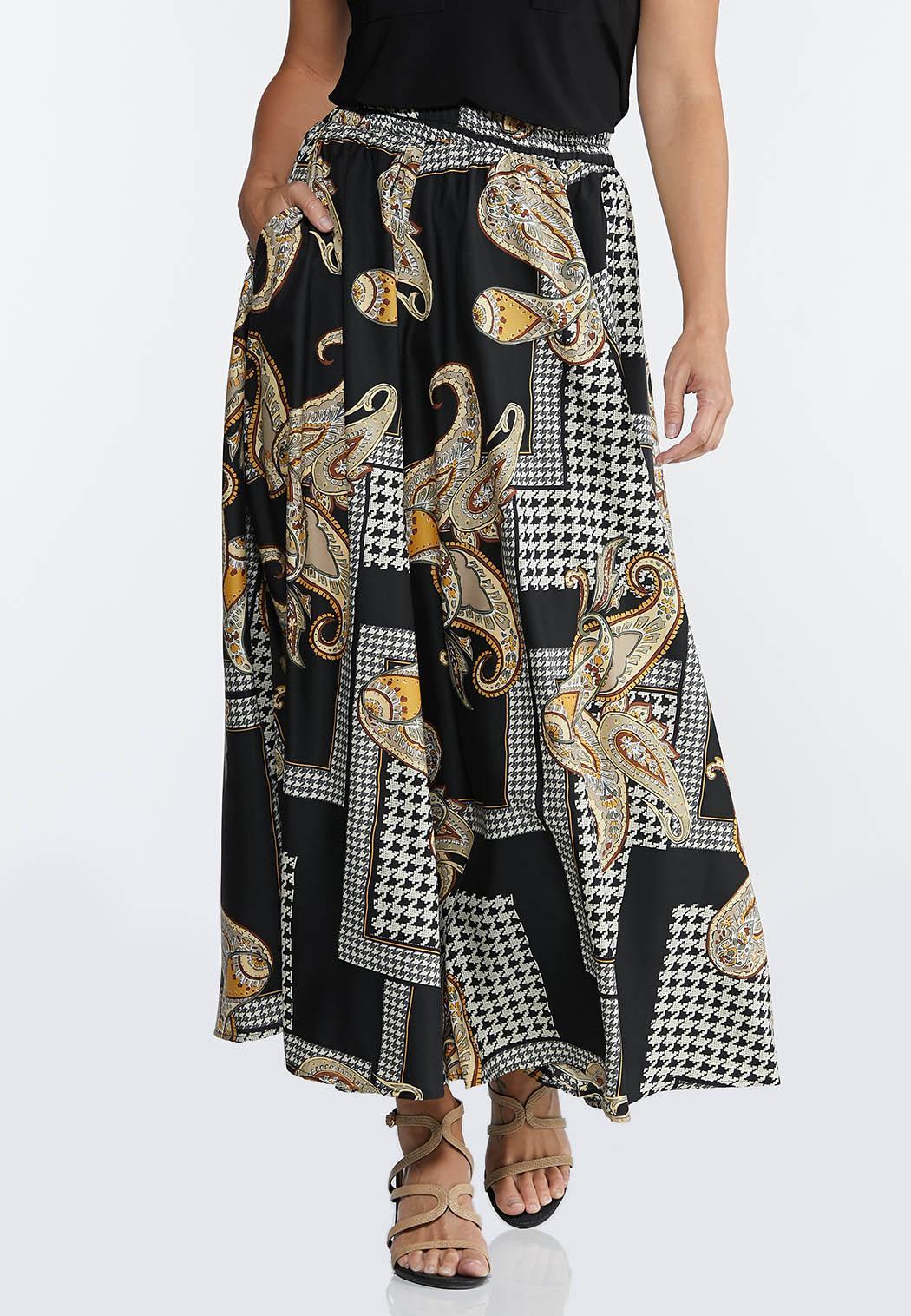 Status Houndstooth Maxi Skirt