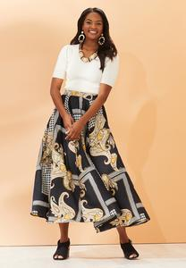 Plus Size Status Houndstooth Maxi Skirt