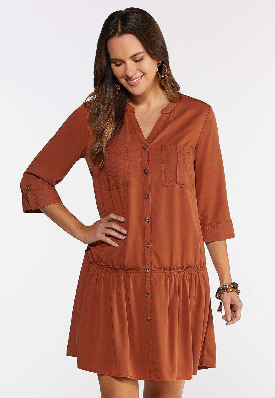 Plus Size Flounced Drop Waist Dress